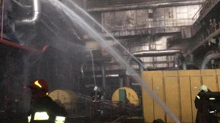 Пожар на Бурштынской ТЭС потушили (видео)